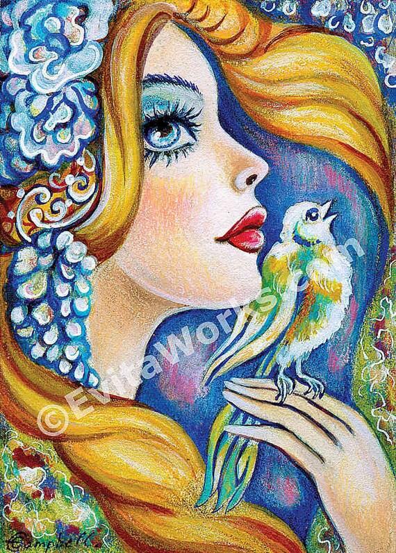 angel bird good gift ideas for girl room wall decor art for women healing art affordable art gifts, angel art SE art, 8x11+