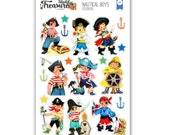 Nautical Boys & Pirates Retro Planner Scrapbook Cardmaking Stickers