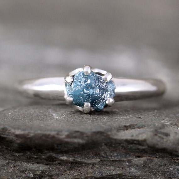 Raw Blue Diamond Ring Uncut Rough Blue Diamond Conflict