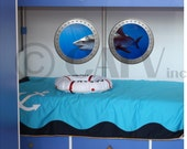 Double Porthole Shark A vinyl wall lettering kids room decor boat ocean theme wall decal self adhesive sticker