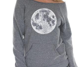 Full moon sweatshirt, Womens Moon Raglan, womens clothing, boho Moon Sweatshirt with Kangaroo pocket, Moon shirt, Moon Print, Yoga Clothes