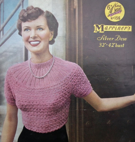 Knitting Pattern Vintage 1940s 1950s Womens Sweater Jumper with yoke - 40s 50s original pattern Marriner's No. 156 UK