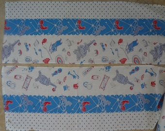 1940s Feedsack type fabric panels, Old Fashioned Home Novelty Print in Blue, White, and Red