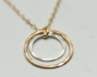 Mother daughter necklace - mother daughter jewelry - dainty gold necklace - mother child - 2 circle necklace - gold jewelry - gift for mom