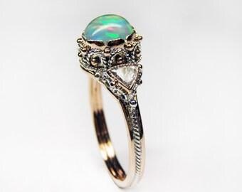 Opal Diamond Dream Ring - in 14K Rose Gold