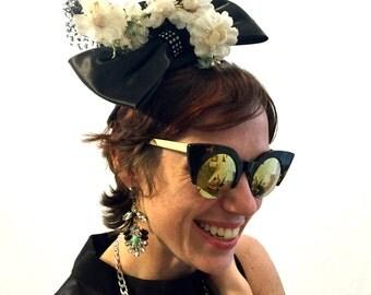 Vintage hat black hat velvet hat headband with bow floral hat