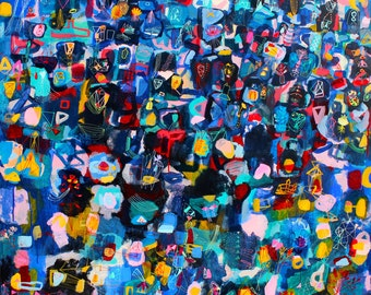 Lite - Brite - original abstract painting abstract art large abstract painting acrylic painting linear painting blue