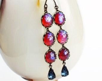 Dragons Breath Earrings Mexican Opal Earrings Vintage Glass Fire Opal Earrings Iridescent Dark Red