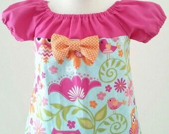 Girl Owls Dress, Girls Birthday Dress, Owls Peasant Dress, Boutique Style Dress, Toddler Dress, Baby Dress, Size 2T Ready To Ship