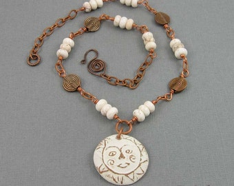Winter White Sun Necklace | rustic copper beaded chain and ceramic pendant with howlite beads | whimsical jewelry