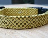 Dog Collar: Yellow and black spotted dog collar - dogs collar - pet collar - puppy collar - animal collar - adjustable dog collar