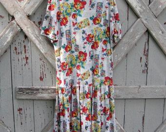 1980s floral drop waist dress L XL XXL