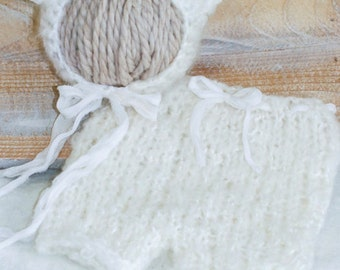 "Whimsical & Oh So Adorable ""Baby Bear Bonnet"" Shorts Set Knit in Fluffy Soft Mohair/Wools with Detachable Bow Clippie"