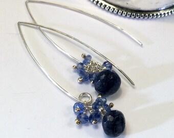 Blue Labradorite Earrings Kyanite Sterling Silver Long Dangle Earrings Elongated Drop Earrings Blue Gemstone Dangle Bridesmaid Earrings
