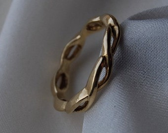 Wedding Band Twisted Rope 14K Gold Two lives intertwined-3.5mm wide 7.5