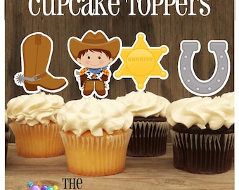 Cowboy Cupcake Toppers, Set of 12 Little Cowboy Decorations by The Birthday House
