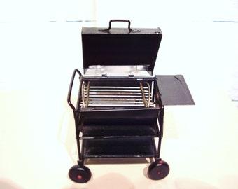 Dollhouse Miniature black BBQ grill barbecue