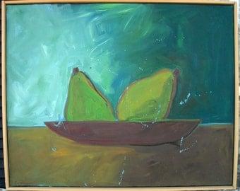 Original art painting Pear still life