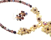 Purple Gold Jewel Necklace and Earring Set