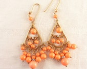 Vintage Faux Coral Bead Gold Tone Chandelier Earrings