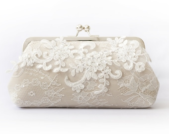 Bridal Clutch with Sparkle Sequins Alencon Peonies Lace in champagne and light rose gold | Wedding Gift