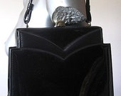 Vintage 60s Black Patent Purse with Top Handle and Brass Lock Closure