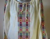 Vintage 60s Off White Peasant Blouse with Red, Yellow, Blue, and Black Embroidery