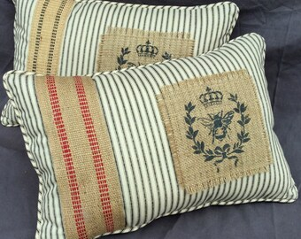 Black Ticking and Burlap Handmade Pillow with Stenciled Burlap Panel and French Burlap Strapping