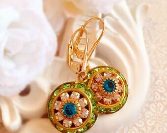 Victorian Earrings - Crystal Cluster Earrings - Green Rhinestone Earrings - Bridesmaid Gifts - AURORA Spring Green