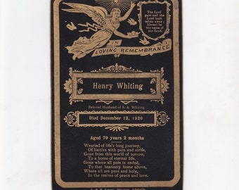 Antique Australian Mourning Card 1920 | In Loving Remembrance | Funeral Card | Memorial Card | Henry Whiting