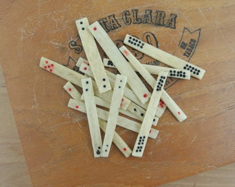 Vintage Mahjong Bone Counting Sticks    Primitive Antique Lot of 10 Counters