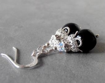 Black Pearl Dangle Earrings with Sterling Silver Hooks