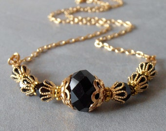 Black Wedding Jewelry Black Crystal Necklace in Gold Filigree 16 18 20 Inch Chain Black and Gold Bridesmaid Necklace Bridesmaid Gift Jewelry