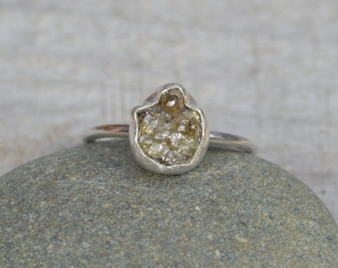 Rough Diamond Engagement Ring, Raw Diamond Ring, 2ct Rough Diamond Ring, Organic Raindrop Shape Diamond Ring, Handmade In England