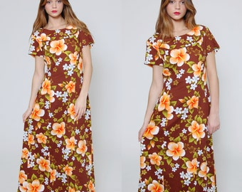 Vintage 60s HAWAIIAN Dress TROPICAL Floral Maxi Dress Short Sleeve MOCHA Ethnic Floral Tiki Dress