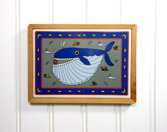 1982 Vintage Whale Art Tile Trivet Wood Framed Wall Hanging Fish Navy Blue San Francisco Collectible Japan PeachyChicBoutique
