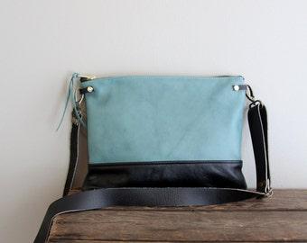 Aqua Teal Blue and Black Leather Purse Clutch