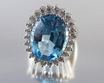 MASSIVE vintage estate 14k white gold 14.12 carat blue topaz 1.20 carat diamond cocktail statement ring