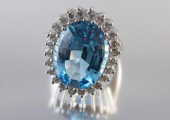 MASSIVE vintage estate 14k white gold 14.12 carat blue topaz 1.20 carat diamond cocktail statement ring