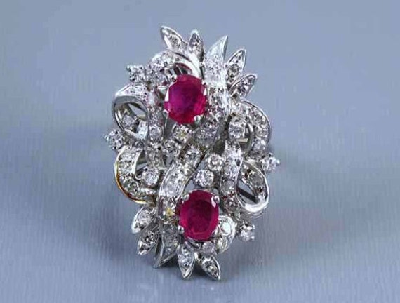 Vintage mid-century 14k white gold 2.00 carat diamond and ruby statement cocktail ring size 6.5