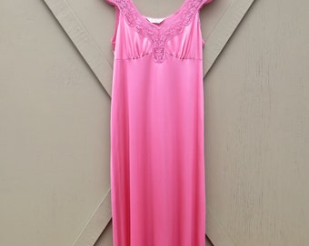 Vanity Fair vintage Rose Pink Sheer Nylon Full Length Nightgown with Lace Trim