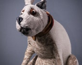 White Wool and Chenille Terrier, Handmade Terrier, Gifts