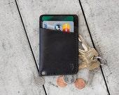 "Vintage Black Minimal Handcrafted Leather Wallet  // ""slim"" by fullgive in fg-black"