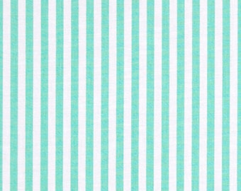 Clown Stripe Sprout Fabric - Michael Miller Fabric - Mint Green Stripe Fabric - Michael Miller Discontinued - White Mint Striped Fabric