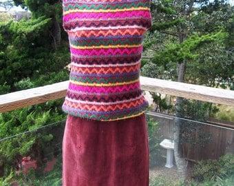 SALE, Woven Tunic, Zig Zag Shell, Boatneck Top, Colorful Top, Sleeveless knit, size S