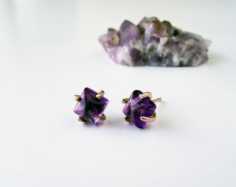 Unique Purple Amethyst and 14K gold Stud Earrings