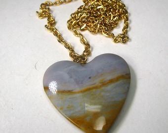 Desert Jasper Stone Heart Pendant on Gold Chain, 1980s