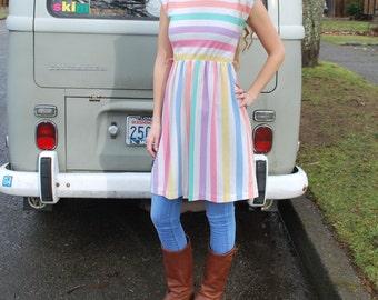 Vintage Girls Large Sleeveless Knit Dress Pastel Spring Dress