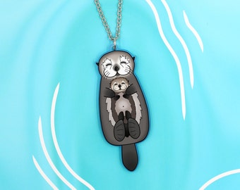 Mother and Pup Sea Otters Necklace - Valentine's Gift - Mom Holding Baby Otter