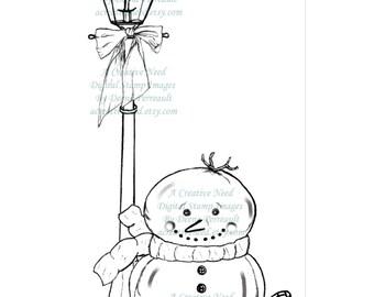 Digital Stamp Image, Lamplight Snowman, Winter Image, Cardmaking, Scrapbooking